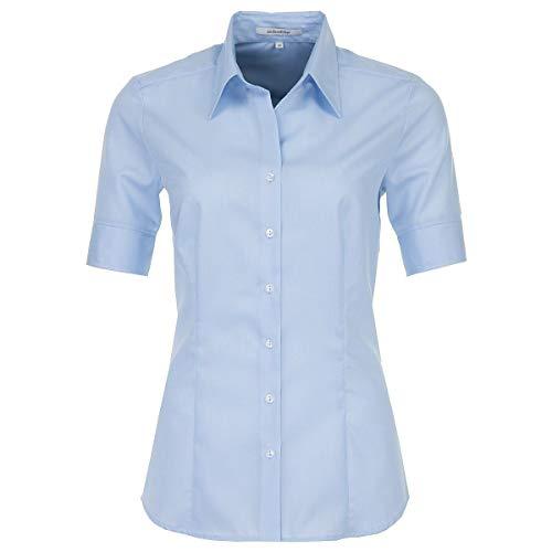 Seidensticker Damska bluzka – bez prasowania, lekko taliowana bluzka z kołnierzem koszulowym – z krótkim rękawem – 100% bawełna, niebieski, 42 PL