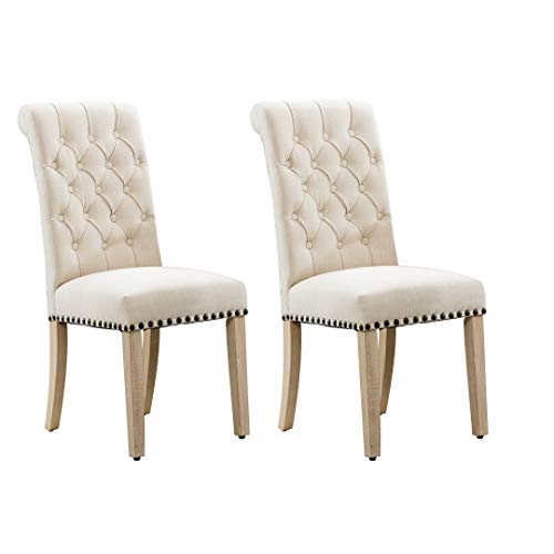 Luxuriour Fabric Dining Chairs with Copper Nails and Solid Wood Legs Set of 2(Beige)