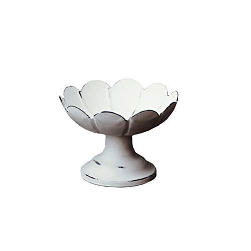 Plato de comida blanco de hierro forjado retro antiguo plato de fruta plato bandeja vintage para decoración del hogar, fiesta, boda, decoración de fotografía (color: blanco, tamaño: pequeño)