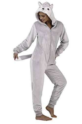 Damen-Schlafanzug, Tiermotiv, weiches Fleece, Einteiler Gr. Large 44-46, Grauer Husky-Hund