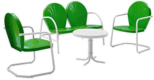 Crosley Furniture Griffith 4-Piece Metal Outdoor Conversation Set with Table, Loveseat, and 2 Chairs - Grasshopper Green