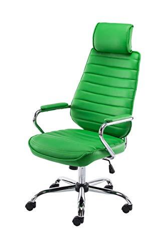 CLP Silla de oficina RAKO con reposacabezas y ruedas | Silla de escritorio regulable en altura con funda de piel sintética, color: verde