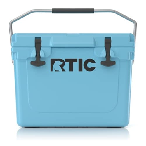 RTIC Hard Cooler, 20 qt, Blue, Ice Chest with Heavy Duty Rubber Latches, 3 Inch Insulated Walls