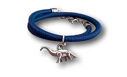Handmade Kinder/Jungen Nappa Leder Wickel Armband, gesäumt -Blau, Anhänger Dinosaurier