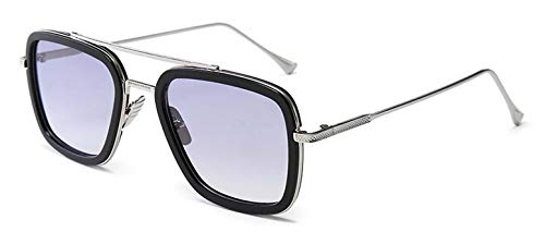 LHKQ Retro Metallrahmen Iron Man Sonnenbrille Square Eyewear Tony Stark Brille (wie Film) für Mann Frau