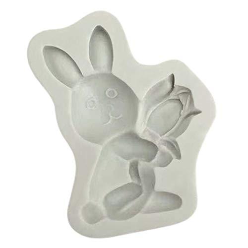 Boji Molde de silicona DIY 3D molde de chocolate Happy Easter Egg Rabbit molde de plástico para hornear