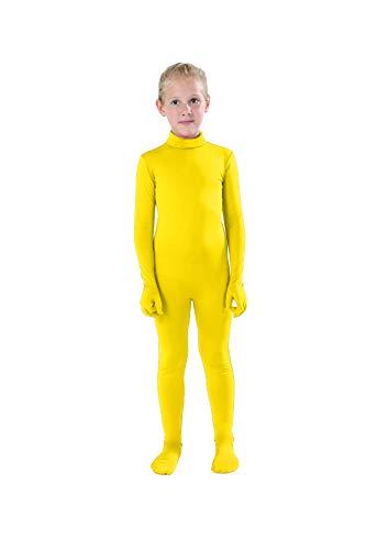 Full Bodysuit Kids Dancewear Solid Color Spandex Zentai Child Unitard (Medium, Yellow)