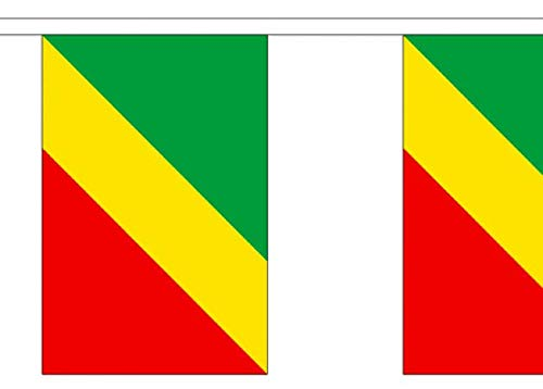 FlagSuperstore© Wimpelkette mit Kongo Brazzaville – Afrika – 9 m Wimpelkette – Polyester – 30 Flaggen pro 9 m Länge