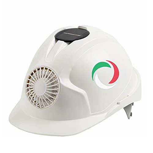 KLMM Italia Casco de Ventilador de energía Solar Casco de Seguridad para Trabajo al Aire Libre Gorra Protectora de Arquitecto Courier (Color : White)