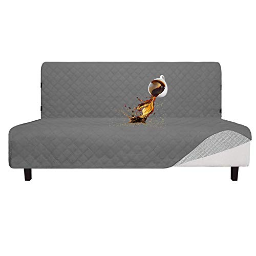 Easy-Going Sofa Slipcover Futon Cover Waterproof Couch Cover Furniture Protector Cover Pets Covers Whole Fabric No Stitching Non-Slip Fabric Pets Kids Children Dog Cat (Futon, Gray)
