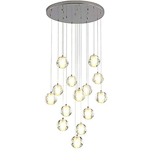 PLAYH Modern Crystal Chandelier Clear Glass Staircase White Dimmable Globe Metal Pendant Lamp Kitchen Loft Duplex Apartment Pendant Lamp 14 G4 Lights Living Room
