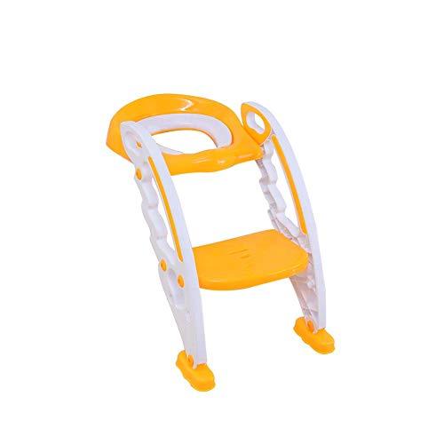 JIEER-C Ergonomische stoelpotjes toiletbril, kindertoilettraining babypot met ladder, gewatteerd ergonomisch design, comfortabel antislip pedaal, gemakkelijk te reinigen geel1