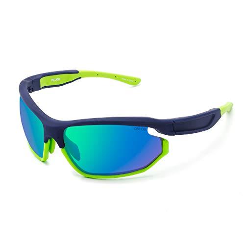 OSLOB Occhiali Da Sole Sportivi Per Uomo E Donna Lenti In Policarbonato Si Applicano Al Ciclismo Guida Pesca In Esecuzione Con Occhiali Da Sole Con Protezione UV ST011 |Blu Navy/Verde|70-17-135