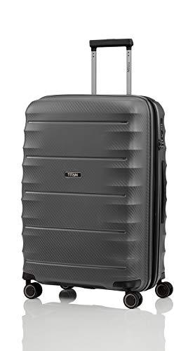 TITAN 4-Rad Koffer Größe M erweiterbar mit TSA Schloss, Gepäck Serie HIGHLIGHT: Leichte Hartschalen Trolleys im Carbon Look, 842405-04, 67 cm, 73 Liter (erweiterbar auf 79 Liter), anthracite (grau)