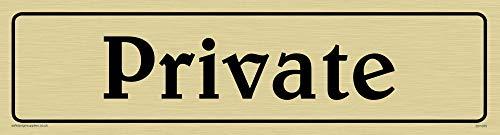 Viking Schilder dv1075-l26-gv'Private' Türschild, positiven schwarz Text mit Bordüre, Vinyl gold Aufkleber, 225mm H x 60mm w