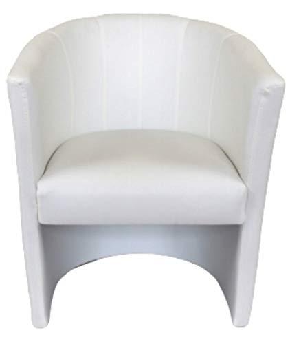 Marthome Fauteuil Club TOM, chaise rembourrée, tabouret en cuir artificiel, fauteuil pour salon, bureau, hôtel (Blanc)