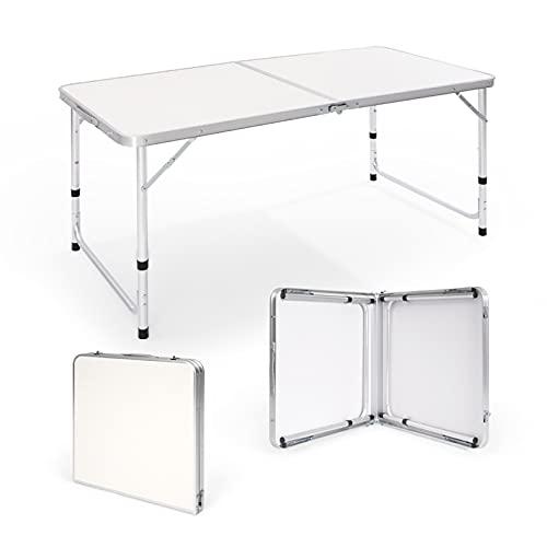 Robotime Mesa de Camping Plegable de 4 pies y 1,2 m de Aluminio, Mesa de Picnic Ajustable y Liviana para Interiores y Exteriores, Cocina, Cena, Catering, Buffet y jardín (4FT/120X60CM)