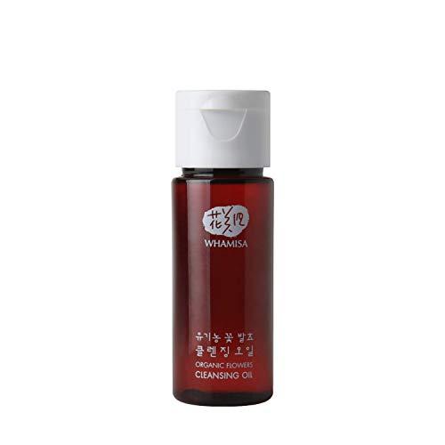 WHAMISA Organic Flowers Cleansing Oil - Sanfte Öl-Gesichtsreinigung zur Entfernung von Make-Up - Porentiefe Reinigung - Beruhigung und Pflege der Haut - Reisegröße 22ml