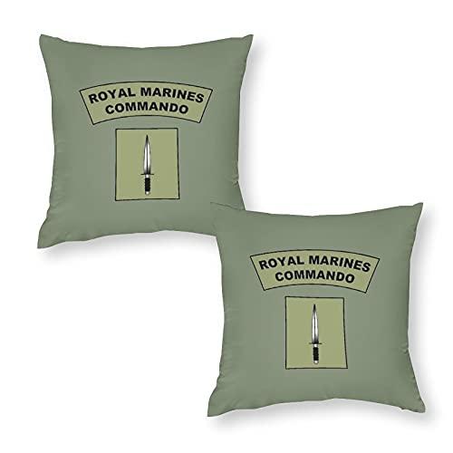 Set di 2 federe copricuscino decorative Royal Marines Commando Flash quadrato per divano, decorazione natalizia per casa, 45 x 45 cm, con cerniera invisibile.