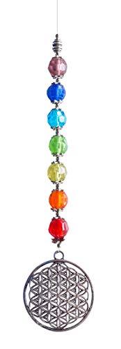 Suncatcher « Fleur de vie » en métal 4 cm avec 7 perles en verre multicolores 60 cm