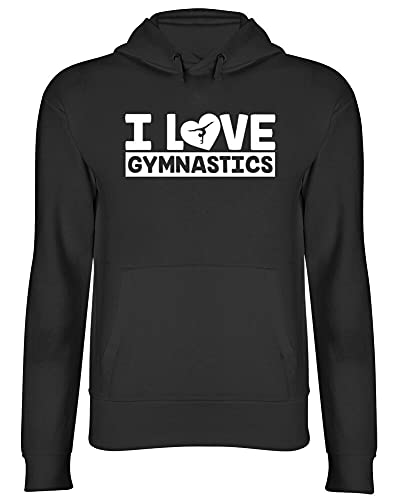 kafei I Love Gymnastics Womens Mens Ladies Gymnast Hooded Top HoodieBlackL