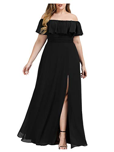 Ever-Pretty Damen Abschlusskleid A-Linie Chiffon schulterfrei Dekolletiert Rüschen große Größe Schwarz 50