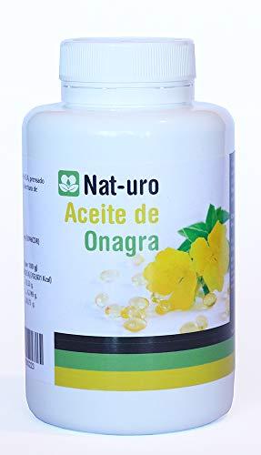 Nat-uro Aceite de Onagra 100 perlas 1406 mg. Alivio de sintomas de la menopausia y sindrome premenstrual
