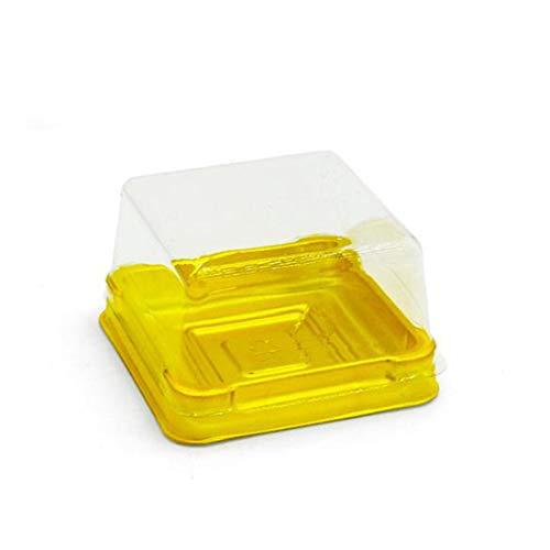50 cajas de plástico para tartas, redondas/cuadradas, individuales, para huevos y yemas, plástico, dorado, cuadrado