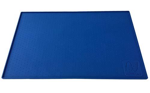 Happilax Alfombrilla de Silicona Premium para comederos de Perros y Gatos, con Borde Extra Alto y Superficie Antideslizante, Azul, L, 60 x 40 cm