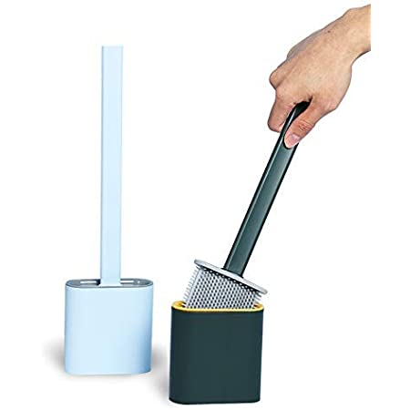 CPENSUS Silicon Toilet Brush with Slim Holder Flex Toilet Brush Anti-drip Set Toilet Bowl Cleaner Brush, No-Slip Long Handle Soft Silicone Bristle Clean Toilet Corner Easily, Wall Mounting, Multi color