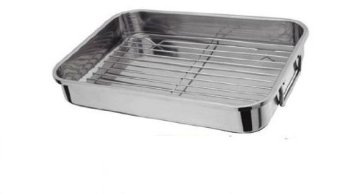 EXTRA LARGE SIZE 42X31CM STAINLESS STEEL ROASTING TRAY WITH GRILL by Prima