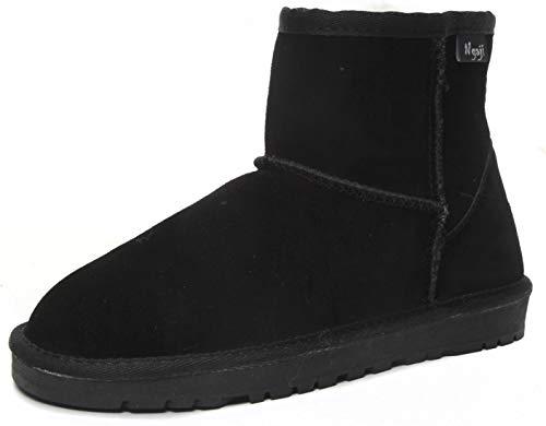 [nagaji] ムートンブーツ レディース 牛革 羊ファー シープスキン Classic MINIII クラシックミニ 革ブーツ 5854 内部暖かいファー入り (22cm, ブラック)