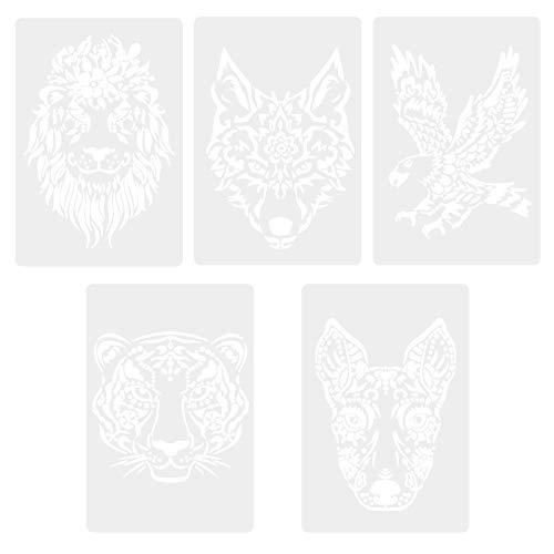 Schablonen zum Malen, 5 Stück Tiere Malschablonen, Stencil Schablonen aus Polyester, Wiederverwendbare Malschablonen, Waschbar Schablone, Malschablonenset für Kinder DIY Craft Scrapbook Card