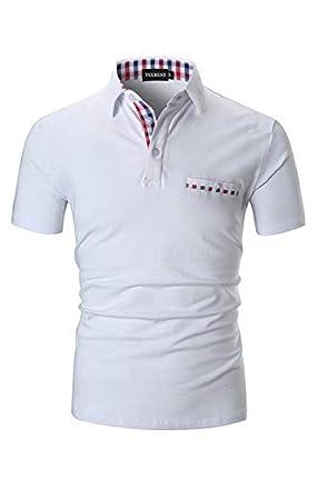 YCUEUST Polo Hombre Manga Corta Camisetas Deporte Clásico Plaid Cuello T-Shirt Blanco Medium