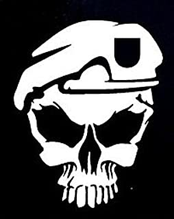 CCI Army Skull Decal Vinyl Sticker|Cars Trucks Vans Walls Laptop| White |5.5 x 4.5 in|CCI811