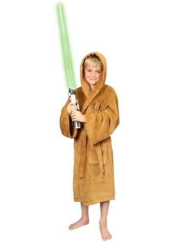 Star Wars - Accappatoio Jedi per bambini - In pile - Con logo e cappuccio - 2 tasche - Cinta - Marrone - L