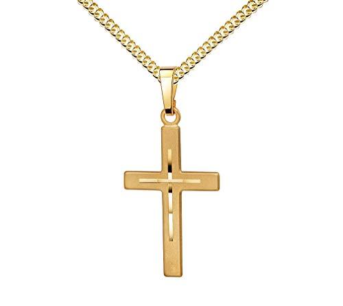 Kreuz-Anhänger mit hochwertigem Diamantschliff für Damen, Herren und Kinder als Kettenanhänger Gold-Kreuz 585 Gold 14 Karat mit Schmuck-Etui und Halskette
