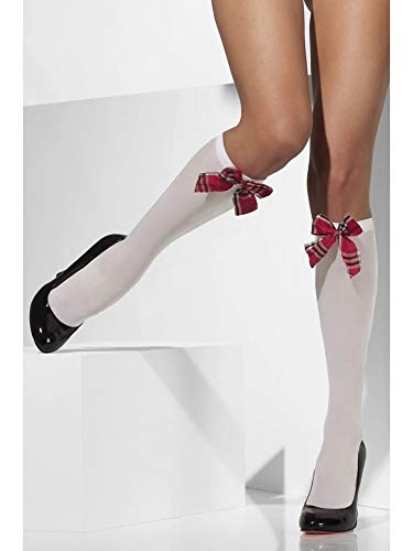 Smiffys Fever Damen Kniestrümpfe mit Tartan-Muster Schleifen, Blickdicht, One Size, Weiß, 23149
