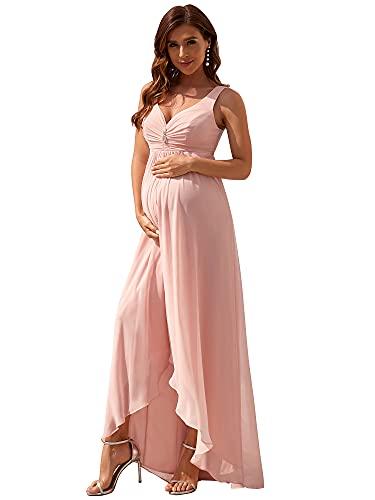 Ever-Pretty Vestido de Fiesta Asimétrico Alto Bajo Largo para Mujer Gasa Embarazada Fotográficas de Maternidad Rosado 44