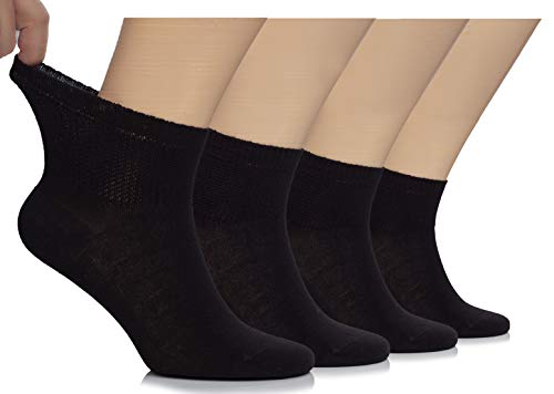 Hugh Ugoli Lightweight Men's Diabetic Ankle Socks Bamboo Thin Socks Seamless Toe and Non-Binding Top, 4 Pairs, Black, Shoe size: 8-12