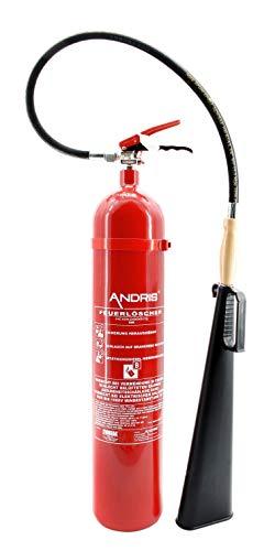 Feuerlöscher 5kg CO² Kohlendioxid für EDV geeignet mit Holzgriff am Schneerohr, EN 3 inkl. ANDRIS® Prüfnachweis mit Jahresmarke und ISO-Symbolschild