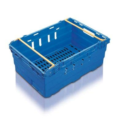 10x 44 Litre Stacking & Nesting Crate Ventilated Crate/Supermarket Storage (600x400x199mm) in Blue
