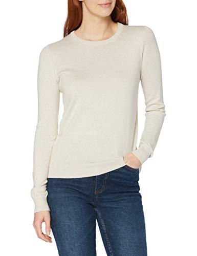 Amazon-Marke: MERAKI Baumwoll-Pullover Damen mit Rundhals, Beige (Linen), 42, Label: XL