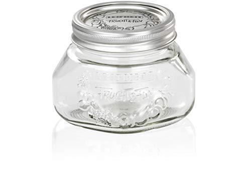 Leifheit Einkochglas 0, 5 L, formschönes Einmachglas mit Deckel und Ring, Einmachglas mit 0, 5 Liter Volumen, platzsparendes Vorratsglas mit Sonderform