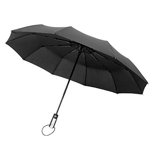 Paraguas automático de Diez Huesos Plegable Hombres y Mujeres Negocios Lluvia soleada Estudiantes de Dos usos Paraguas Grande Doble Reforzado a Prueba de Viento Triple