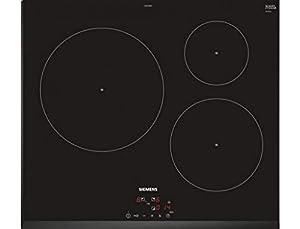 Plaque induction 3 feux Siemens EU651BJB1E - table vitrocéramique induction 60 cm - 3 foyers - 3 boosters - 1 feux 28 cm - 3 minuteurs - Bords biseautés