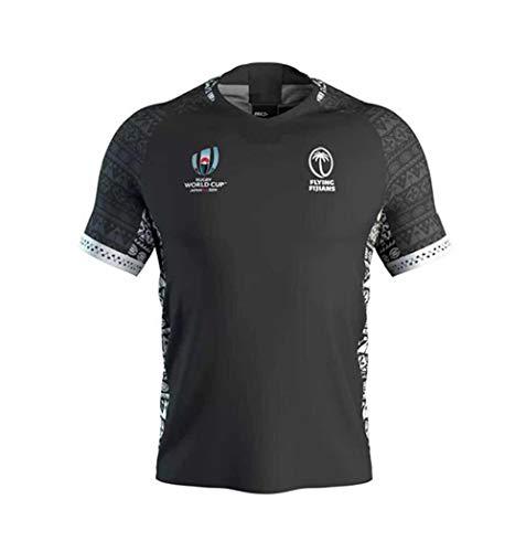 WYNBB 2019 Weltmeisterschaft Rugby Jersey Rugby-Trikot Fidschi zu Hause/unterwegs für Männer Kurzarm-Freizeit-T-Shirt-Trainingsanzüge Fidschi Heim Auswärts,Black,M/170-175CM