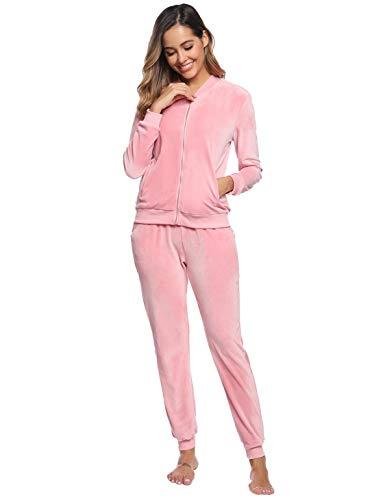 Akalnny Damen Velours Trainingsanzug Hausanzug Freizeitanzug Jogginganzug Sportanzug Zweiteiliger Zipper Jacke Hose Kordelzug Taschen(Pink,S)
