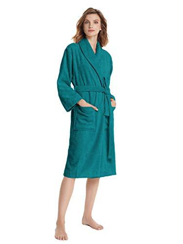 SIORO Frottee Bademantel Damen Langarm Baumwolle Bademantel Kimono Damen Morgenmantel Mit Taschen und Gürtel S-XL Saunamantel , Pfau groß