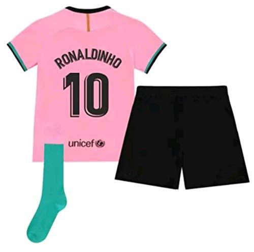 Kids/Youths Sportswear 2020/2021 Season Third Soccer T-Shirts Jersey/Short/Socks (Barcelona Ronaldinho #10(7-8years/size22)) Pink